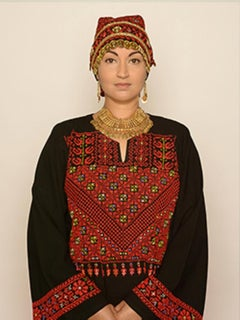 Palestinian Woman, contemporary, photography, self portraiture, red, gold, black