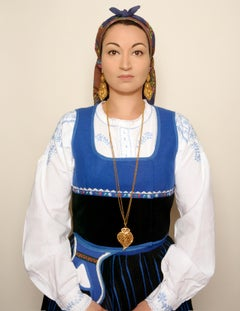 Portuguese Woman, contemporary, photography, selfportraiture, blue, black, green