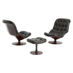 Shelby Lounge Chairs with Ottoman by Georges van Rijck