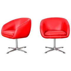Shelby Williams MCM Swivel Bucket Chairs Red Vinyl Faux Leather & Chrome X Base