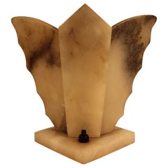 Shelf Lamp, Art Deco, Made of Natural Stone in Butterfly Shape, circa 1920-1930