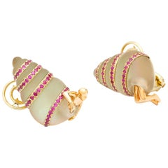 Shell 18 Karat White, Rose Gold Pink Sapphires Rock Crystal Earrings Hand Carved