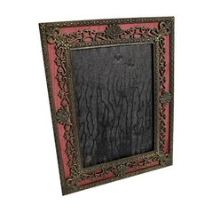 Shell and Heart Motif Bronze and Silk Maroon Photo Frame