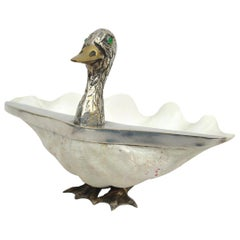 Shell and Silvered Brass Duck Shaped Trinket-Bowl, Italy, circa 1970