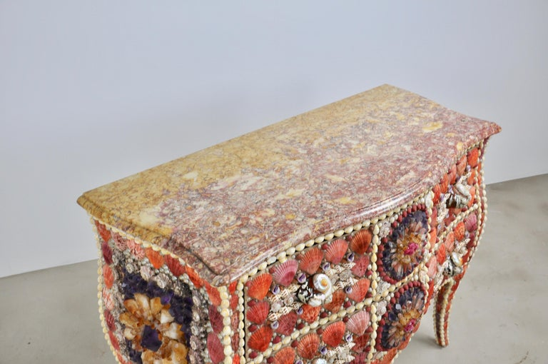 Marble Shell and Stone Chest of Drawers For Sale