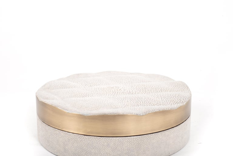 Hand-Crafted Shell Box with Quilting detailing and Bronze-Patina Brass by Kifu Paris For Sale