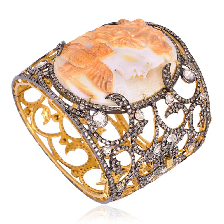 Classical Roman Shell Cameo Bangle Cuff with Diamonds For Sale