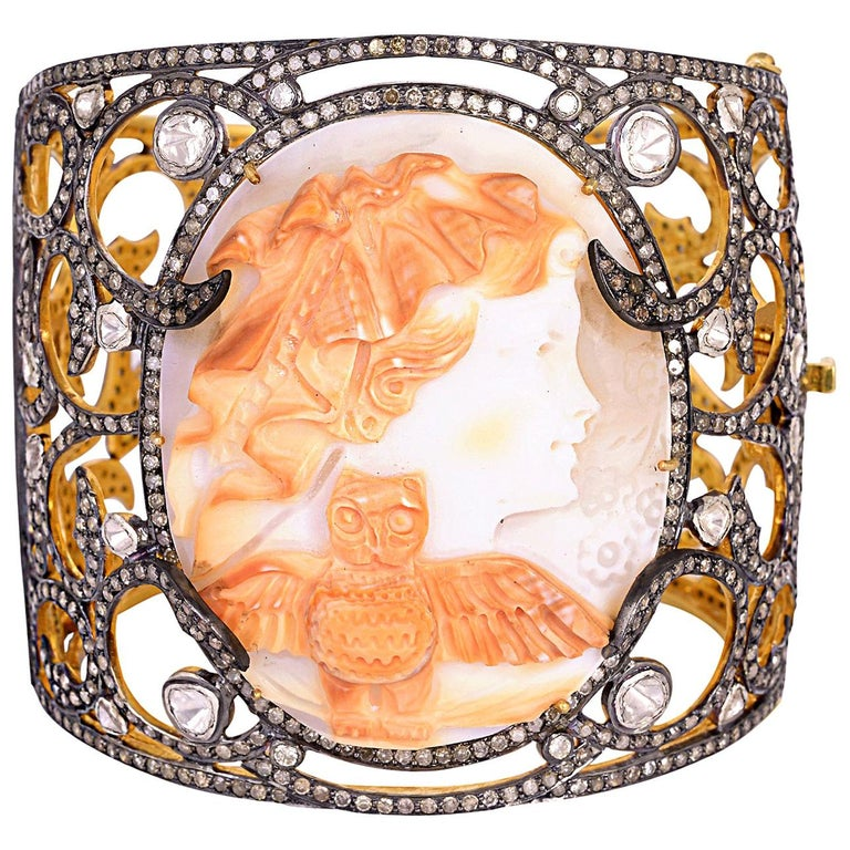 Shell Cameo Bangle Cuff with Diamonds For Sale