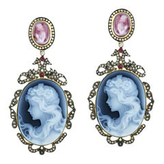 Shell Cameo Diamond Drop Earrings in Silver and 18k Gold