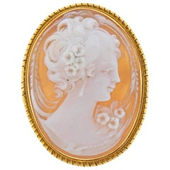 Shell Cameo Gold Pendant Brooch Pin