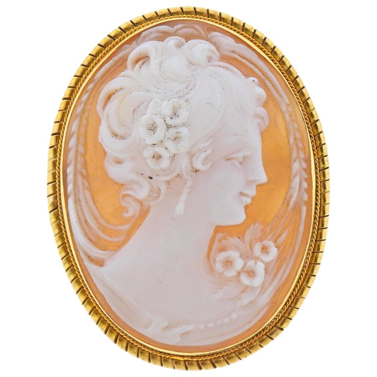 Shell Cameo Gold Pendant Brooch Pin For Sale