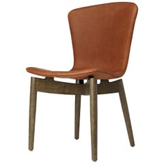 Shell Dining Chair Sirka Grey Stained Oak Dunes Rust Leather by Mater Design