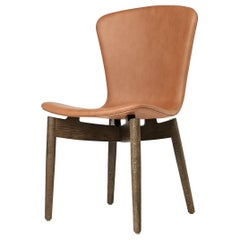Shell Dining Chair Sirka Grey Stained Oak Ultra Brandy Leather Mater Design