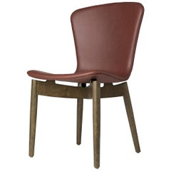 Shell Dining Chair Sirka Grey Stained Oak Ultra Cognac Leather by Mater Design