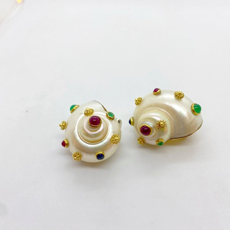 Retro Shell Ear Clips with 18 Karat Yellow Gold, Ruby, Emerald and Sapphire For Sale