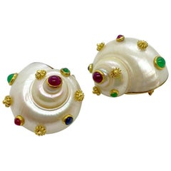 Shell Ear Clips with 18 Karat Yellow Gold, Ruby, Emerald and Sapphire