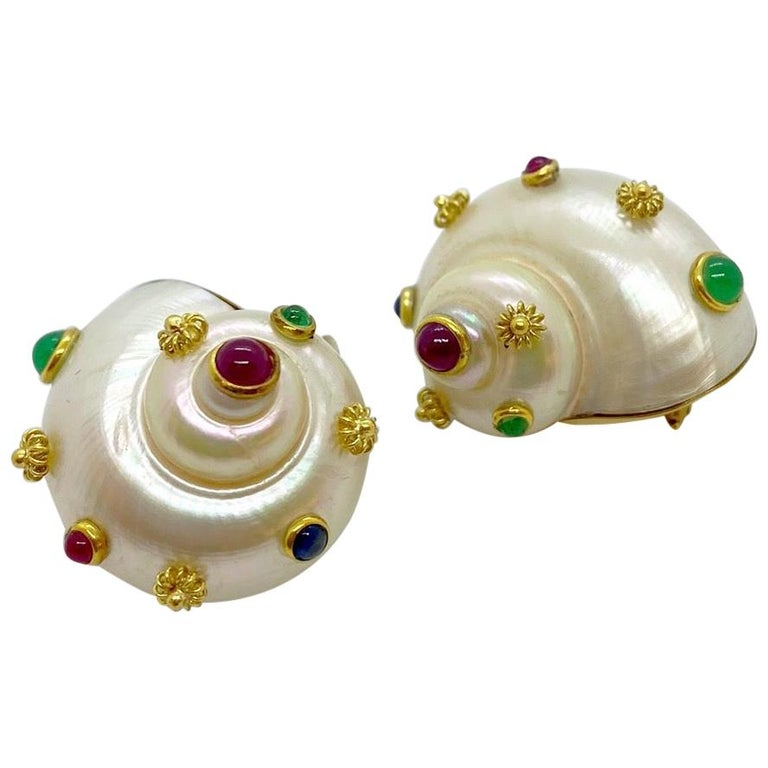 Shell Ear Clips with 18 Karat Yellow Gold, Ruby, Emerald and Sapphire For Sale