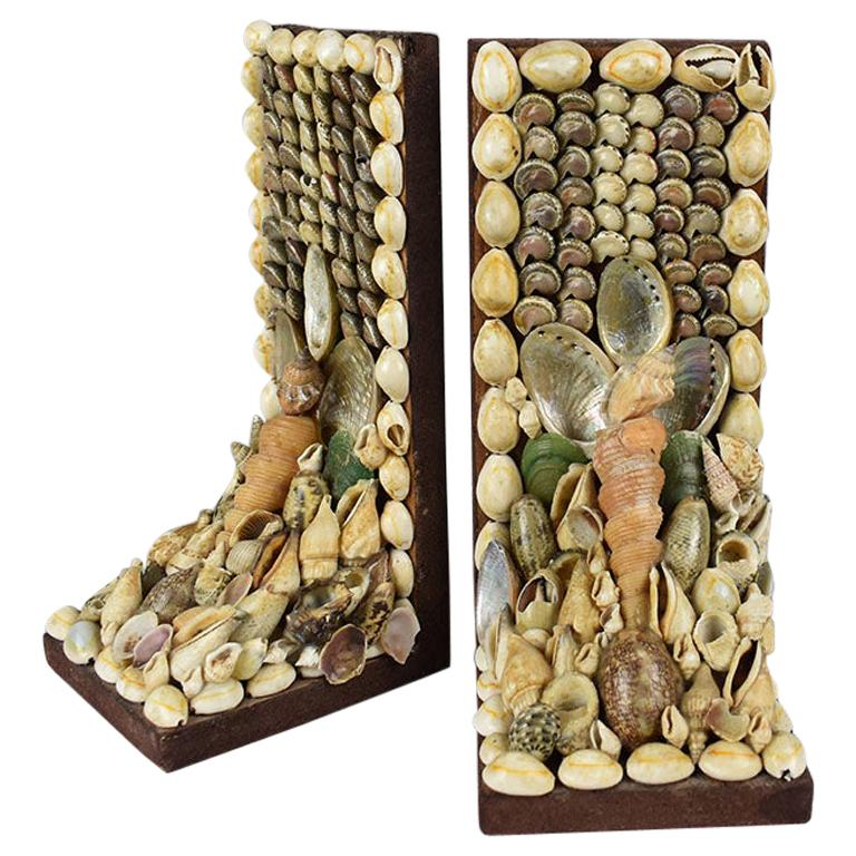 Shell Encrusted Bookends, a Pair