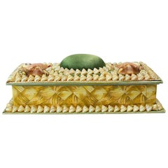 Shell Encrusted Rectangular Keepsake Box with Green Silk Lid