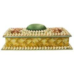 Shell Encrusted Rectangular Keepsake Box with Green Silk Lid