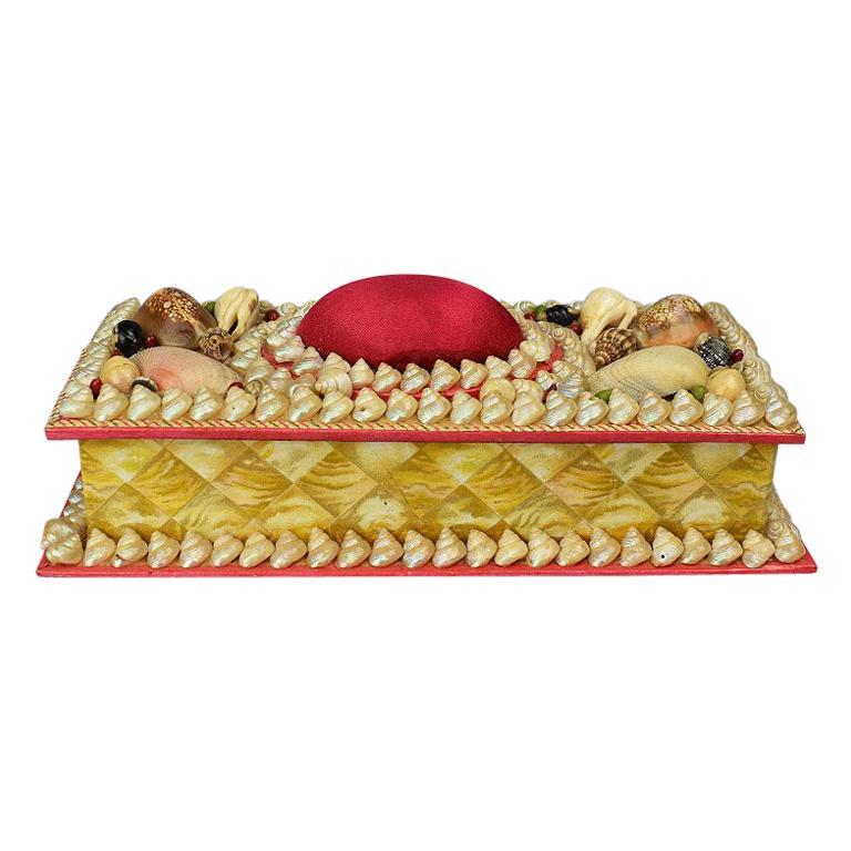 Shell Encrusted Rectangular Keepsake Box with Red Silk Lid