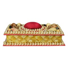 Shell Encrusted Rectangular Keepsake Box with Red Silk Lid