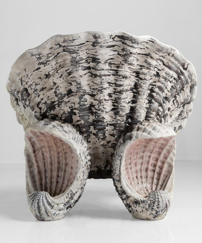Composition Shell Grotto Garden Chair, 20th Century For Sale