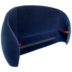 Shell Headboard in Upholstered Fabric and Horse Hair Filling with Wooden Support