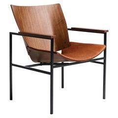 Shell Lounge Square Chair in Natural Walnut by Niko Kralj, Rex Kralj