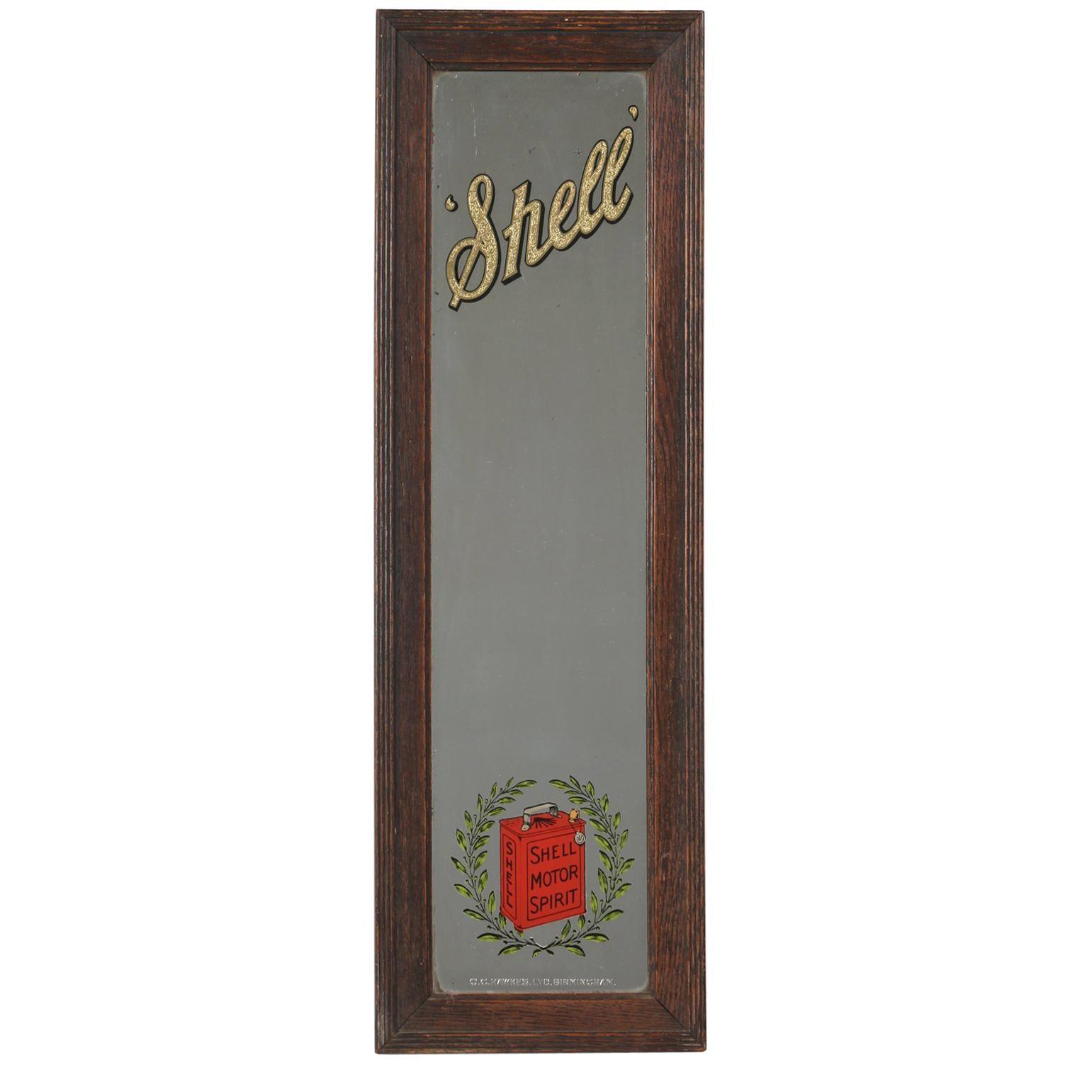 Shell Oil Advertising Mirror, circa 1930s