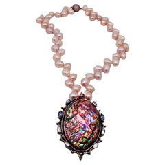 Shell Pendant with Aquamarine Sapphire and Gemstones with Pink Biwa Pearls