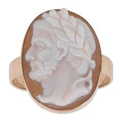 Shell Roman Emperor Cameo Ring