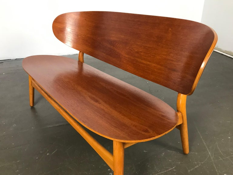 Danish Shell Settee Bench by Hans Wegner for Fritz Hansen For Sale