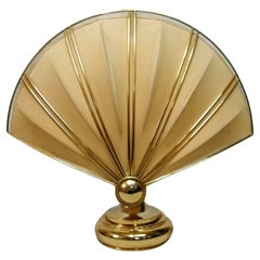 Shell Table Lamp in Brass and Fabric, 1970s