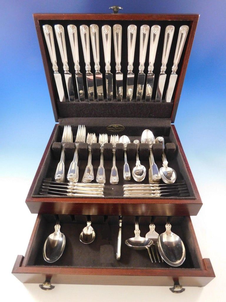 Superb Dinner Size Shell & Thread by Tiffany & Co. sterling silver flatware set of 78 pieces. This set includes:  12 dinner size knives, 10 1/4