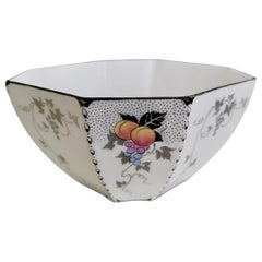 Shelley Art Deco Slop Bowl, Peaches and Grapes on Queen Anne Shape, 1926