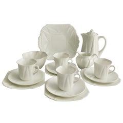 "Shelley ""Dainty White"" Porcelain Coffee Service, Art Nouveau, 1926-1940"