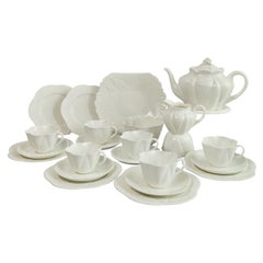 Shelley Dainty White Porcelain Tea Service for Six, Early 20th C