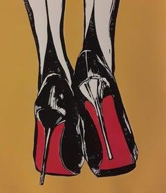 Night In - Stiletto Heels, Sex Appeal and Pop Art: Acrylic & Linocut Print