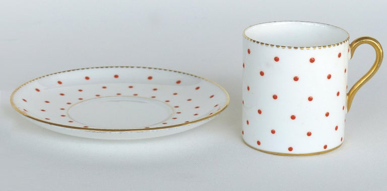 Mid-Century Modern Shelley England Fine Bone China Enameled and Gilt Demitasse Cups and Saucers For Sale