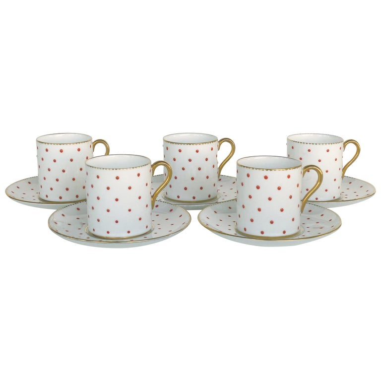 Shelley England Fine Bone China Enameled and Gilt Demitasse Cups and Saucers For Sale