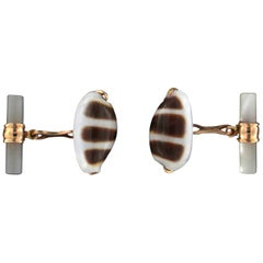 Shells 18 Karat Yellow Gold Mother of Pearl Barrel Cufflinks