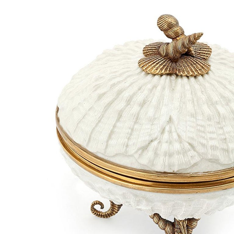 Hand-Carved Shells Box in White Porcelain For Sale