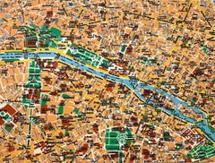 Map of Paris, Yellow, Blue, Green & Red, Oil and ink  on canvas by Shelter Serra
