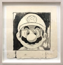 Mario (Grin), 2018, Ink and pencil on paper, black and white, by Shelter Serra