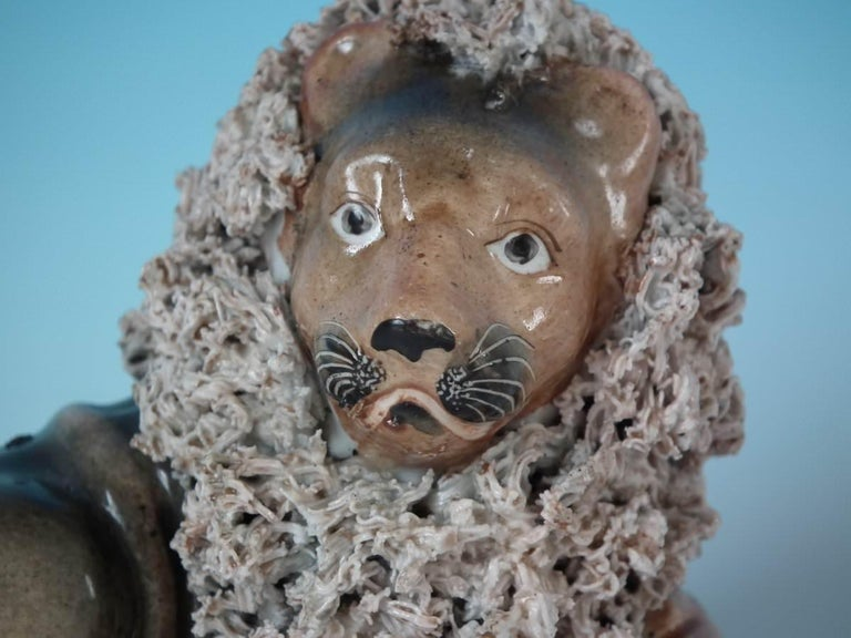 Glazed Shelton Staffordshire Lion with Lamb Figure For Sale