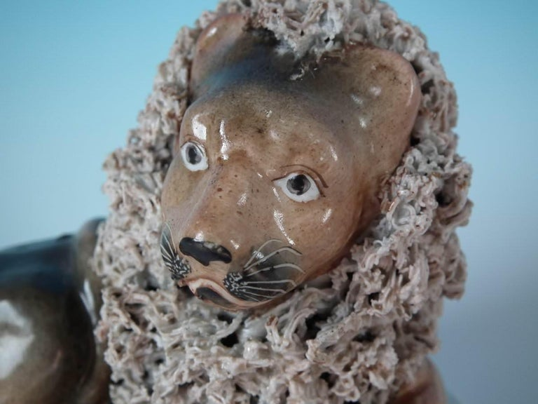 Shelton Staffordshire Lion with Lamb Figure For Sale 1