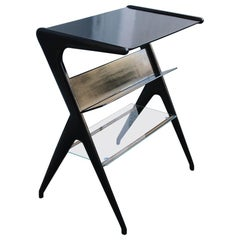 Shelve Midcentury Italian Design Geometric Shape Mahogany Glass Minimal Design