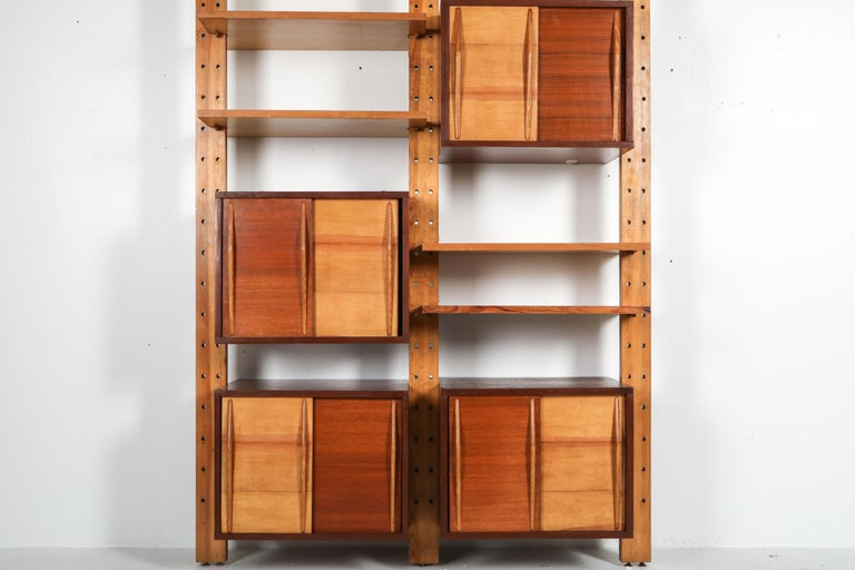 Mid-Century Modern Shelve System France 1970s Inspired by Perriand, Le Corbusier For Sale
