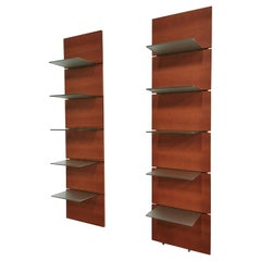 Shelves in Cherrywood Tempered Glass Postmodern by Calligaris, Italy, 1990s
